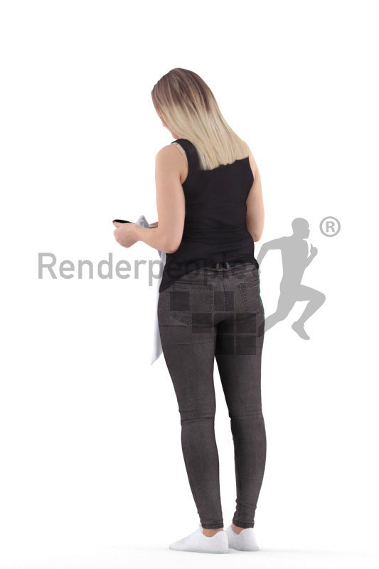 3d people casual, 3d white woman, standing and drying dishes