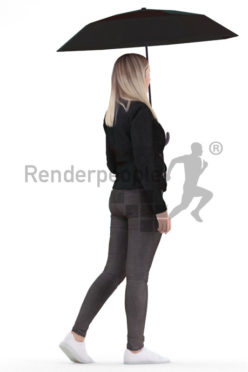 Scanned 3D People model for visualization – white woman, walking outside with an umbrella