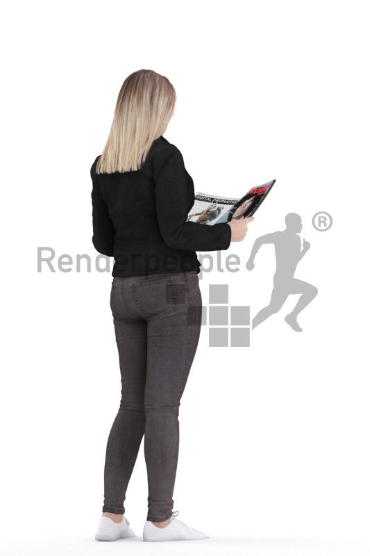 3d people casual, 3d white woman, standing and reading something