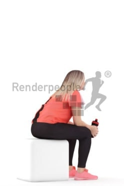 3d people sports, 3d white woman sitting with a bottle