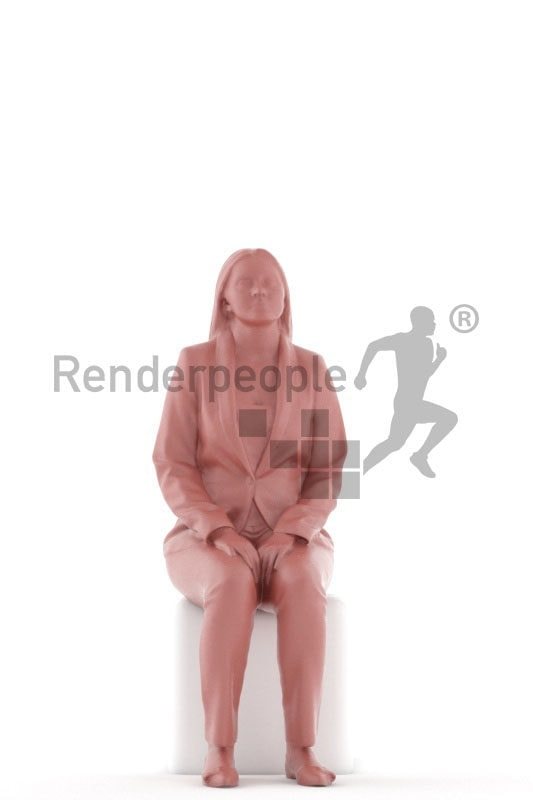 3D People model for 3ds Max and Cinema 4D – european woman in business suit, sitting