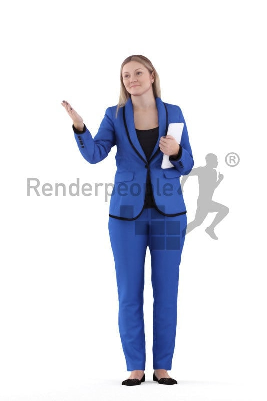 3d people business,3d white woman, interacting