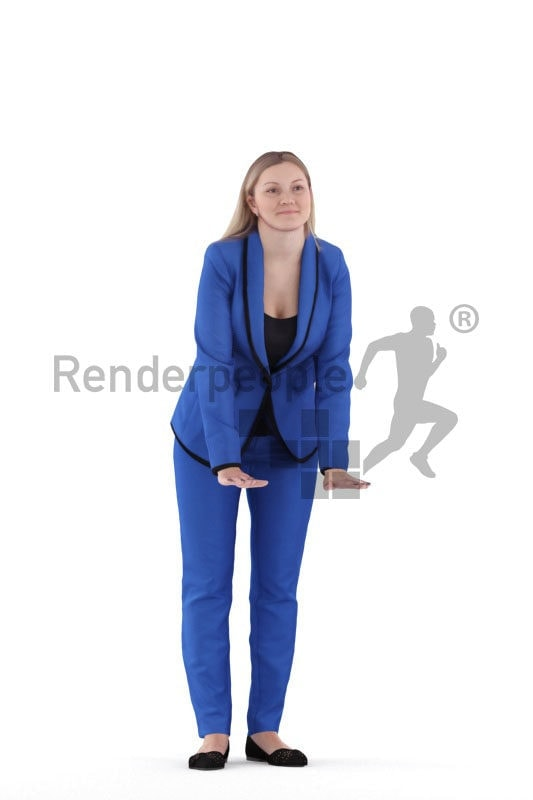 3D People model for 3ds Max and Cinema 4D – european woman in business suit, leaning on something