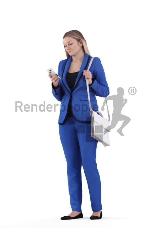 3d people business,3d white woman, walking and typing