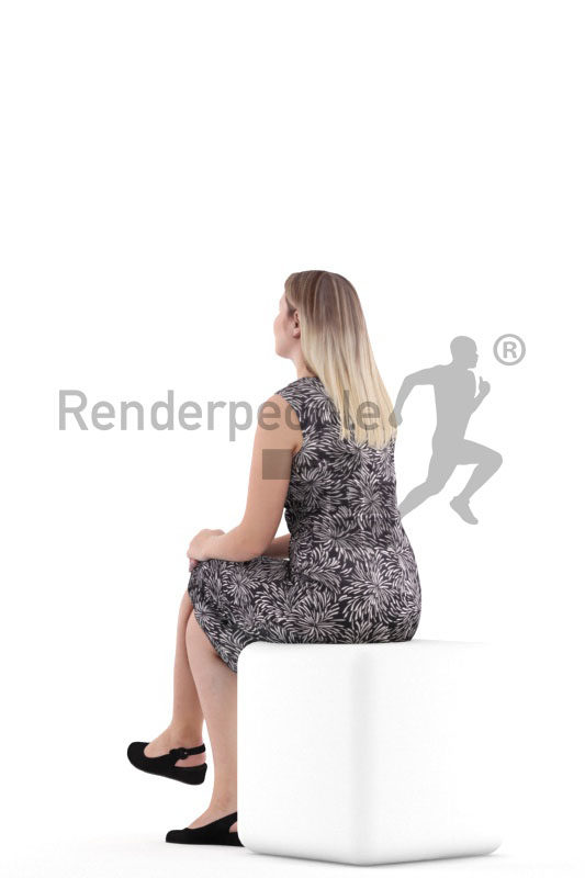 Photorealistic 3D People model by Renderpeople – white woman, sitting, event