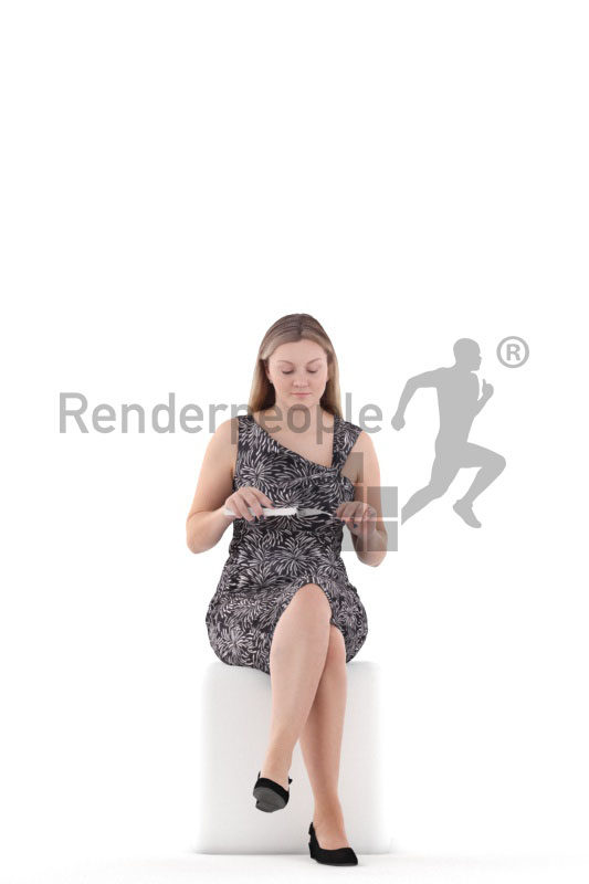 3d people casual, 3d white woman sitting and eating