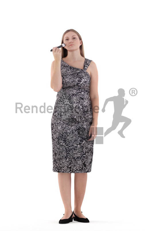 Posed 3D People model for renderings – white woman with event dress, doing make up