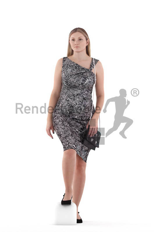 Posed 3D People model for renderings – white woman with event dress, walking upstairs