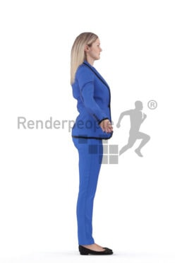 Rigged 3D People model for Maya and 3ds Max – european woman in business look