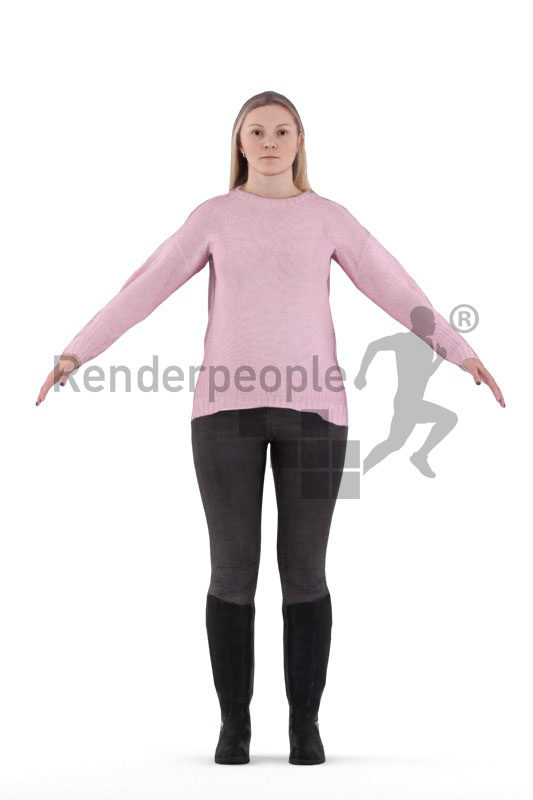 Rigged 3D People model for Maya and 3ds Max – european female in a casual winter style