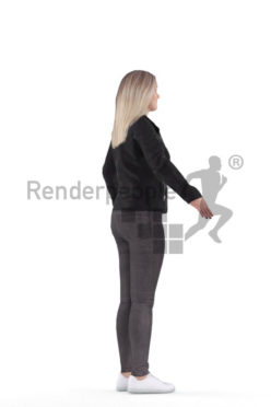 3d people outdoor, white 3d woman rigged