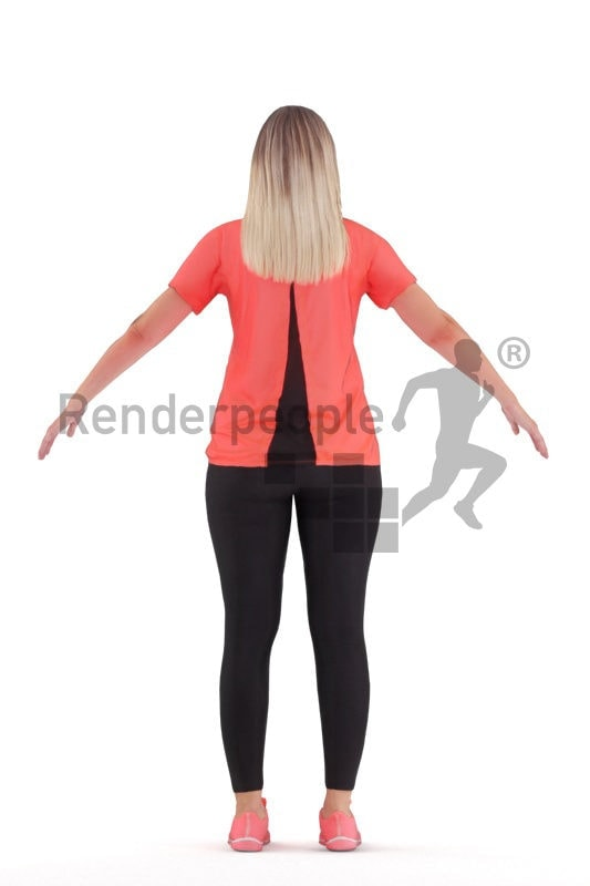 Rigged 3D People model for Maya and 3ds Max – european woman, sports wear