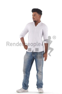 Human 3D model for animations – indian man in smart casual outfit, standing
