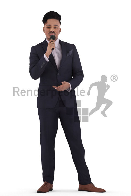 3D People model for 3ds Max and Maya  – indian man in elegant event suit, moderating with a microphone