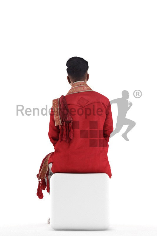 Scanned 3D People model for visualization – Indian man in traditional outfit, sitting and listening