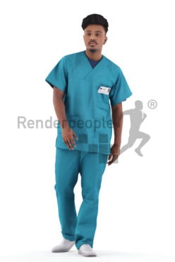 Scanned 3D People model for visualization – indian man in scrubs clothes, walking