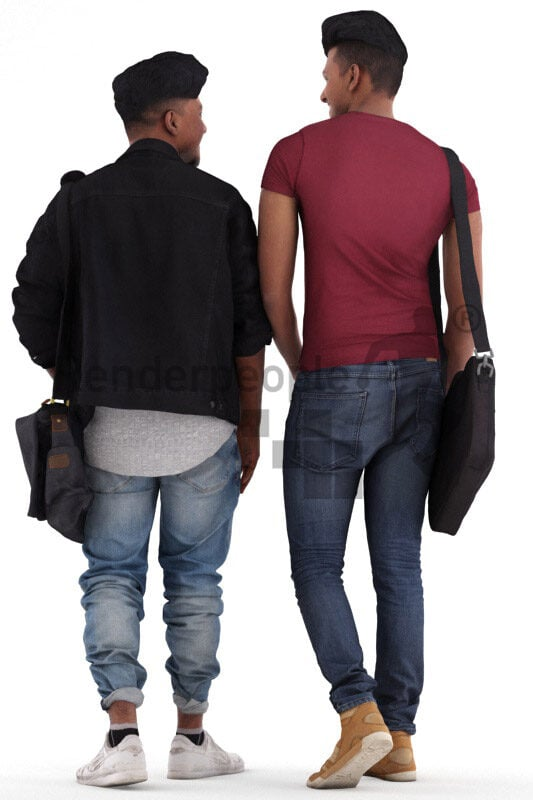 Posed 3D People model for visualization – indian men in casual campus look, talking and walking together