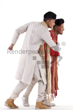 Scanned human 3D model by Renderpeople – double model, indian men in traditional dress, saluting