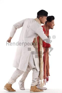 Scanned human 3D model by Renderpeople – double model, indian men in traditional dress, saluting