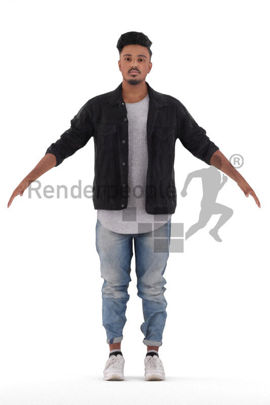 Rigged 3D People model for Maya and 3ds Max – indian man in casual streetwear