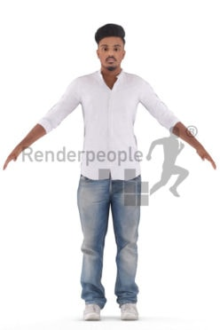 Rigged and retopologized 3D People model – indian male in smart casual look