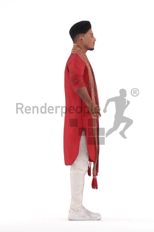 Rigged 3D People model for Maya and Cinema 4D – indian man in traditional suit