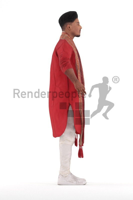 Rigged human 3D model by Renderpeople – indian man in traditional clothing