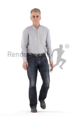 Animated 3D People model for visualization – elderly white man in a smart casual look, walking