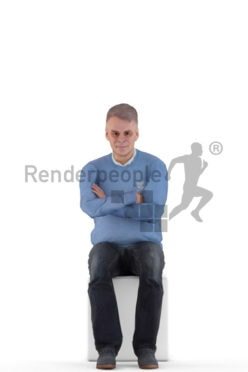 Human 3D model for animations – elderly european man in smart casuial look, sitting