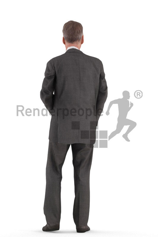 Animated 3D People model for Unreal Engine and Unity – elderly white man in business/event suit, standing and talking