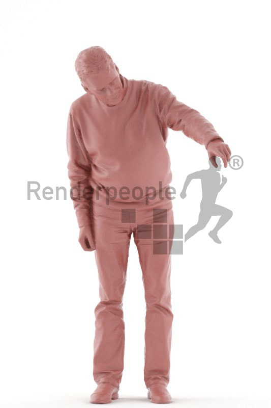 3d people casual, best ager man standing and pointing at something