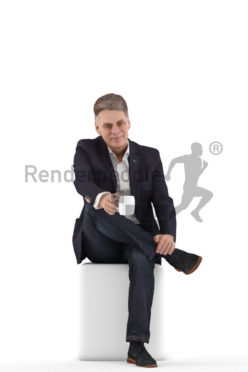 3d people business, best ager man sitting and holding a cup