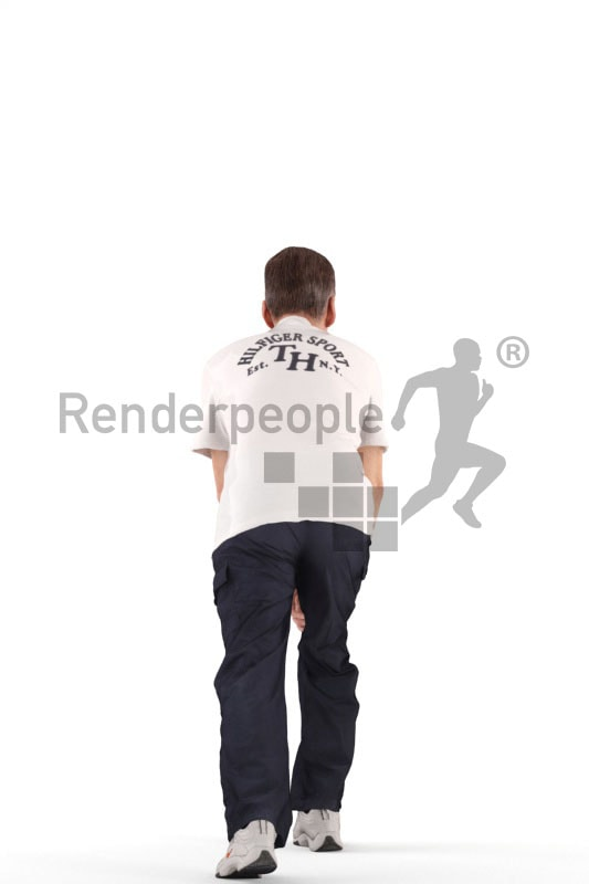 3d people sports, best ager man standing and stretching