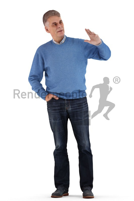 3d people casual, best ager man standing and talking