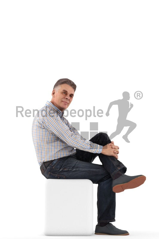 3d people business, best ager man sitting and waiting