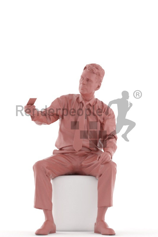 3d people business, best ager man sitting and paying with credit card