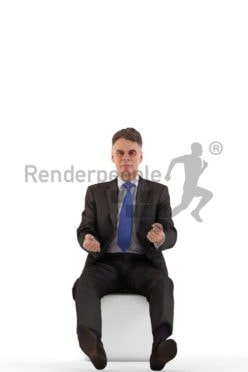 3d people business, best ager man sitting and driving