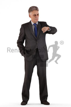 3d people business, best ager man standing and looking at his watch