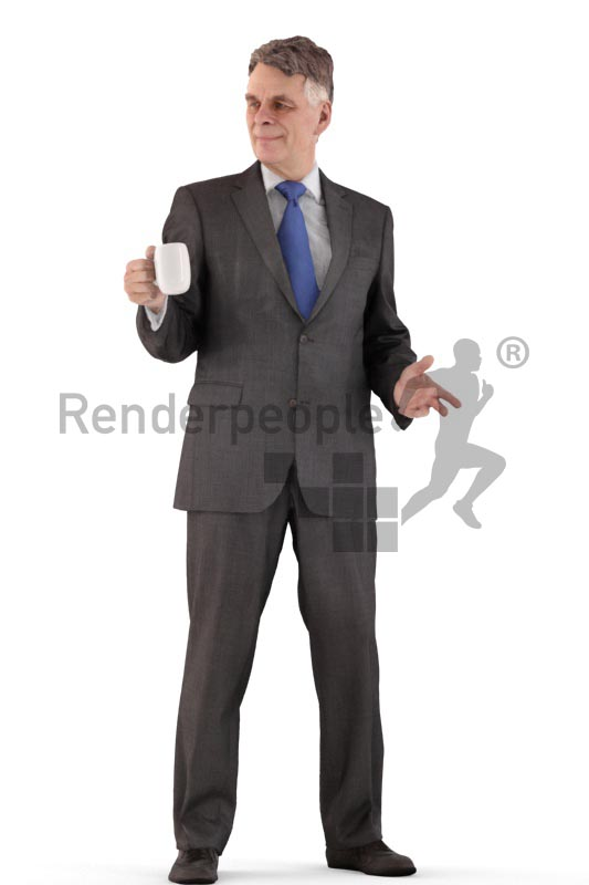 3d people business, best ager man standing and drinking coffee