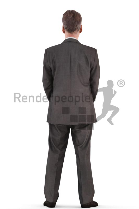 3d people business, best ager man standing