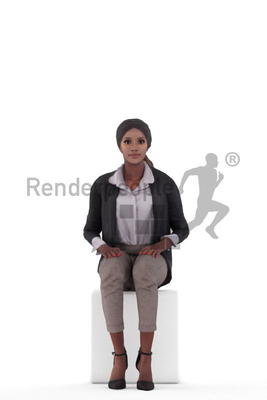 Animated 3D People model for Unreal Engine and Unity – black woman in office look, sitting