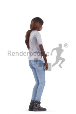 3D People model for animations – black woman in casual clothes, standing