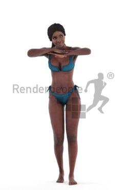 3d people beach/pool, 3d black woman standing in the pool