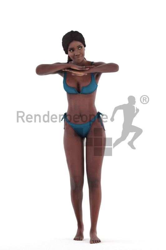 3d people beach/pool, 3d black woman standing in the pool