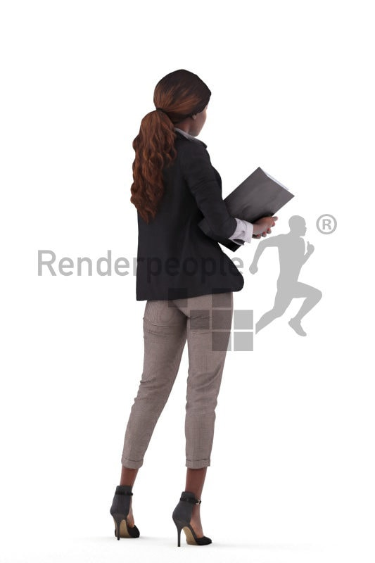 3d people business,3d black woman standing and holding a folder