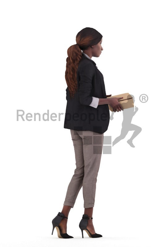 3d people business,3d black woman walking and holding a box
