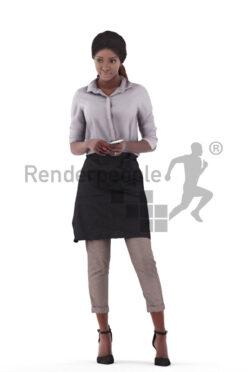 Posed 3D People model for renderings – black waitress taking orders