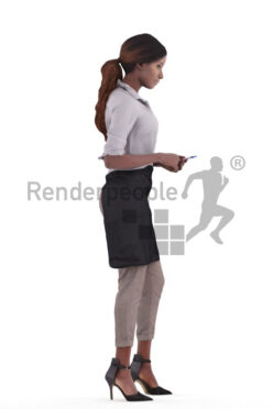 Posed 3D People model for renderings – black waitress taking orders