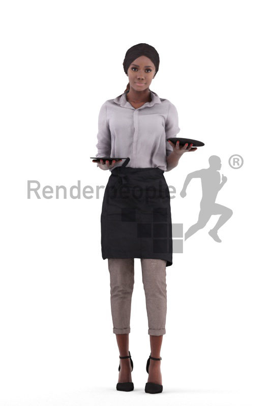 3d people gastronomy, 3d black women standing and serving plates