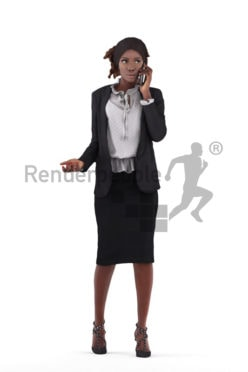 3d people business, 3d black women standing and calling